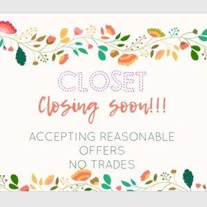 Closet will be closing next week!